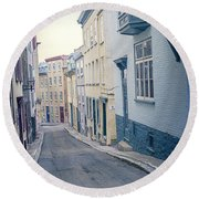 Streets Of Old Quebec City Round Beach Towel