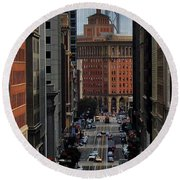 Streets Of San Fran Round Beach Towel by Benjamin Yeager