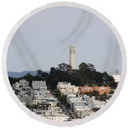 Streets Of San Francisco With Coit Tower Round Beach Towel