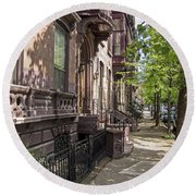 Streets Of Troy New York Round Beach Towel