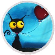 Stressie Cat And Her Love Balloon Round Beach Towel