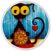 Stressie Cat And The Tick Tock Round Beach Towel