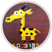 Stretch The Giraffe License Plate Art Round Beach Towel