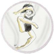 Stretching Dancer Round Beach Towel