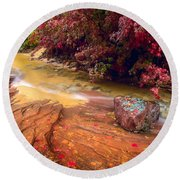 Striated Creek Round Beach Towel