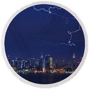 Strikes And Bolts In Nyc Round Beach Towel