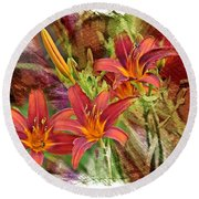 Striking Daylilies - Digital Art Round Beach Towel