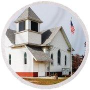Stringtown Community Church Round Beach Towel