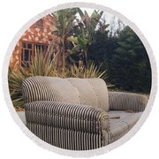 Striped Couch I Round Beach Towel