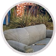 Striped Couch II Round Beach Towel