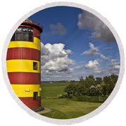 Striped Lighthouse Round Beach Towel