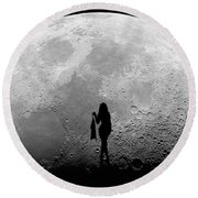 Stripper On The Moon Round Beach Towel