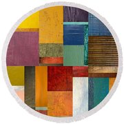 Strips And Pieces Ll Round Beach Towel by Michelle Calkins