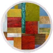 Strips And Pieces Lll Round Beach Towel by Michelle Calkins