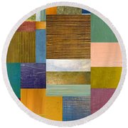 Strips And Pieces Lv Round Beach Towel