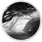 Stroll In The Fog Round Beach Towel by Valeria Donaldson