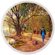 Stroll In The Park. Round Beach Towel