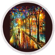 Stroll With My Best Friend - Palette Knife Oil Painting On Canvas By Leonid Afremov Round Beach Towel