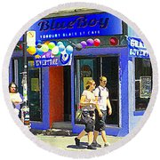 Strolling By The Blue Boy Frozen Yogurt Glacee Cafe Plateau Mont Royal City Scene Carole Spandau   Round Beach Towel