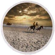 Strolling Horses Round Beach Towel