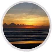 Strolling The Beach During Sunset Round Beach Towel