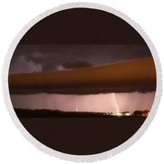 Strong Late Night Nebraska Shelf Cloud Round Beach Towel
