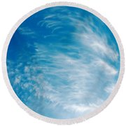 Strong Winds Forming Cirrus Clouds With A Deep Blue Sky. Round Beach Towel