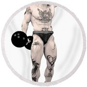 Circus Strongman Round Beach Towel