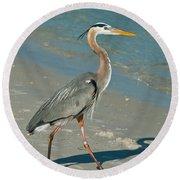 Strutting Heron Round Beach Towel