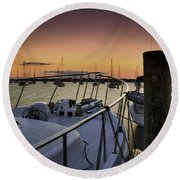 Stuart Marina At Sunset Round Beach Towel