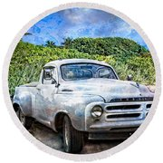 Studebaker Goes To The Beach Round Beach Towel