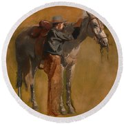 Study For Cowboys In The Badlands Round Beach Towel