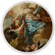 Study For The Assumption Of The Virgin Round Beach Towel by Jean Baptiste Deshays de Colleville