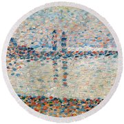 Study For The Channel At Gravelines Evening Round Beach Towel