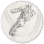 Study For The Male Nude At Right Above The Persian Sibyl After Michelangelo Buonarotti Round Beach Towel