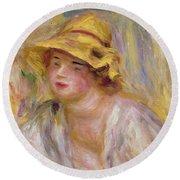 Study Of A Girl, C.1918-19 Round Beach Towel