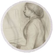 Study Of A Young Girl At The Piano Round Beach Towel