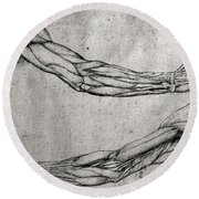 Study Of Arms Round Beach Towel by Leonardo Da Vinci
