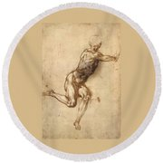 Study Of Figure To Battle Of Cascina Round Beach Towel