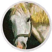 Study Of The Horse's Head Round Beach Towel