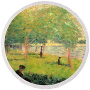 Study On La Grande Jatte Round Beach Towel
