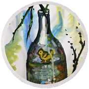 Study - Yellow Ducky In  Bottle Round Beach Towel