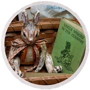 Stuffed Rabbit And Uncle Wiggly Book Round Beach Towel