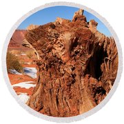 Stumped At Monument Valley Round Beach Towel