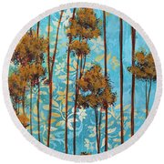 Stunning Abstract Landscape Elegant Trees Floating Dreams II By Megan Duncanson Round Beach Towel