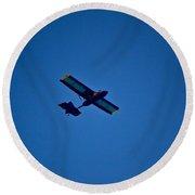 Stunt Plane Round Beach Towel