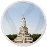 Stupa At The Silver Pagoda, Cambodia Round Beach Towel