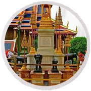 Stupa Surrounded By Elephants At Grand Palace Of Thailand In Ban Round Beach Towel