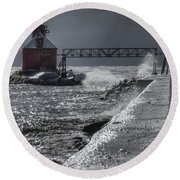Sturgeon Bay After The Storm Round Beach Towel by Joan Carroll