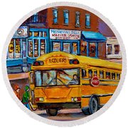 St.viateur Bagel And School Bus Montreal Urban City Scene Round Beach Towel
